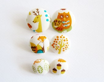 Sewing Buttons / Fabric Buttons - 6 Fabric Buttons Set - Woodland Animals - Fabric Covered Buttons