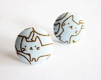 Clip On Earrings / Stud Earrings / Button Earrings - cat earrings
