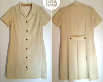Vintage 60s Cream Mod Shift Shirt Dress with Retro Square Gold Brass Buttons!