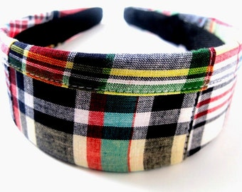 Navy Plaid Headband 2 Inch
