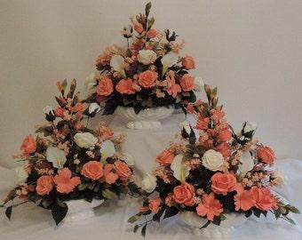 Coral Peach Ivory Roses Gladiolus  Silk Wedding Flower Floral Arrangement Centerpiece