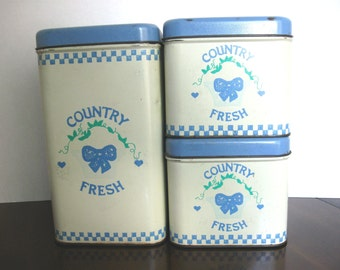 Vintage Metal Country Fresh 3-Piece Canister Set - Franco