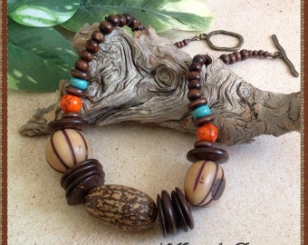Tagua and Wood Necklace Set, Tagua, Wood and Magnesite Necklace Set, Natural Seed Necklace, Ethnic Necklace