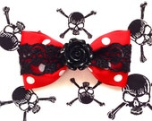 Vintage Rose Skull and Dots Hair Bow - Red - Black Lace - Black Rose - Rockabilly - Retro