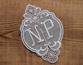 Monogram lace initial monogram NP 4.13 inch 2-piece antique double monogram lace letter initial tag washing mark laundry label fabric lace