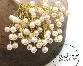 12 Stems 6mm Ivory on Gold Wired Pearls  (For Millinery, Wedding Bouquets)