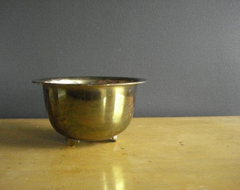 Have Feet, Won't Travel - Footed Brass Bowl - Brass Bowl or Planter