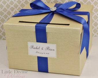 Wedding Card Box Champagne Gold and Royal Blue Money Holder Customizable