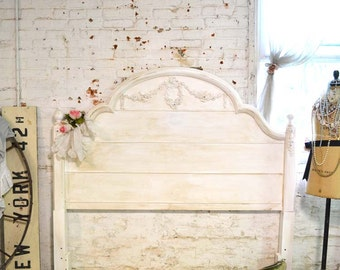 French Headboard Painted Cottage Romantic French Shabby Chic Headboard Queen / Full Bed BD727