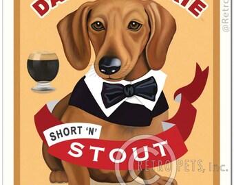 "8x10 Dachshund Art - Dapper Doxie - ""Short 'n' Stout"" - Art print by Krista Brooks"