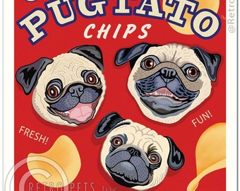 8x10 Pug Art - Pugtato Chips - You can't have just one! - Art print by Krista Brooks