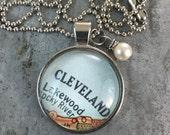 Map Pendant Necklace Cleveland Ohio OH