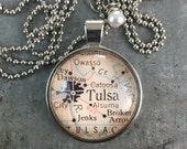 Map Pendant Necklace Tulsa Oklahoma OK