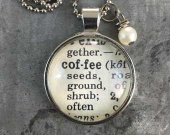 Dictionary Word Necklace - Coffee
