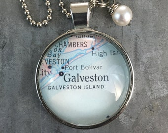 Map Pendant Necklace Galveston Texas TX