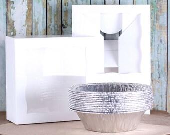 Small Pie Box Kit, Christmas Pie Kit, Pie Packaging Kit, Pie Pans and Boxes, Pie Bakery Box, Small Pie Box, White Pie Box, Brown Box (4 ct)