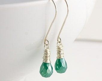 Green Onyx Sterling Silver Earrings