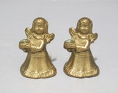 Vintage Small Brass Angel Candle Holders Set of 2 / Pretty Pair Golden Cherub Candlestick, Shelf Display Cast Metal Candle Stick Holder