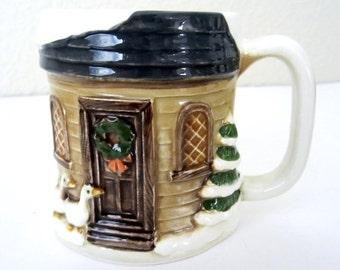 OTAGIRI Ceramic Embossed, Handpainted Country Christmas HOLIDAY SCENE Mug - Snow Covered House, Tree, Geese