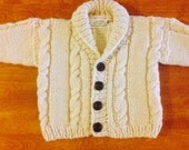 Baby Cable Cardigan Sweater,Sweater Wooden Buttons , Sweater Size 12 months - 24 Months, Wool Sweater,Sweater Shawl Collar