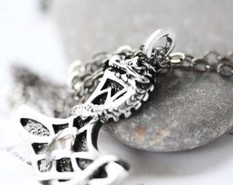 Dragon Necklace - Thor's Hammer Swarovski Crystal with Pewter Pendant and Oxidized Sterling Silver Necklace