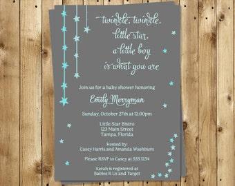 Twinkle Little Star Baby Shower Invitations, Boys, Aqua, Set of 10 Printed Invites, Free Shipping, TWSBL, Twinkle Star, Gray & Blue