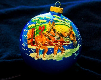 Hand Painted Ornament-2 Horses in Snow-Item 972