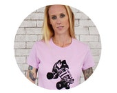 Roller Derby Skate Tshirt, Roller Skate, Quad Speed Skating, Skater, Derby Girl, Pastel Purple, Lilac, Cotton Graphic Tee, Screen-printed
