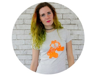 Neon Orange Roller Skate Tshirt, Ladies Short Sleeved Cotton Tshirt in Oatmeal Heather, Roller Skating Roller Derby, Quad Speed Skate Summer