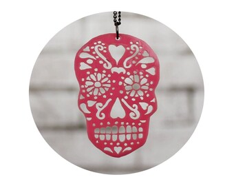 Day of the Dead Pendant, Light Pink Sugar Skull, Necklace, Jewelry, Gift for Her, Acrylic, Laser Cut, Mexican Folk Art, Punk, Calavera