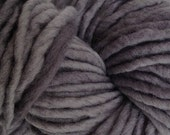 Bulky / Chunky Weight Hand Painted Wool Yarn Pencil Roving in Smoke Gray 60 yards Hand Dyed