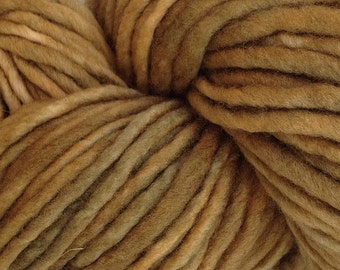 Bulky / Chunky Weight Hand Painted Wool Yarn Pencil Roving in Olive Works 60 yards