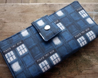 Ready to ship Womens clutch Wallet handmade custom clutch Tardis