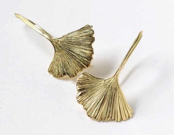 Ginkgo Leaf Earrings 18k Gold