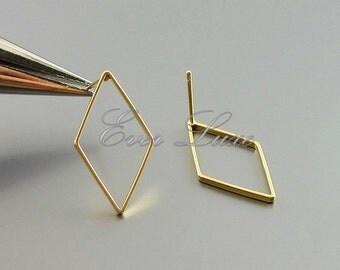 4 large 24mm diamond shape post earrings, stud earrings, geometric jewelry, earrings 1067-MG-24 (matte gold, 24mm, 4 pieces)