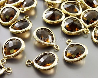 2 smoky quartz color glass 13mm teardrops with gold bezel pendants, 5064G-SQ-13