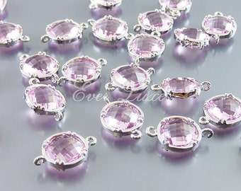 2 small round pink glass bead with loops, connectors for making pink stone earrings, charm bracelet 5014R-PK-10