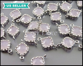 4 Light pink and silver connectors in diamond shape / silver bezel setting 5061R-PI