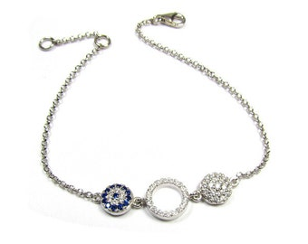 Evil Eye CZ Disc and Circle Bracelet in Sterling Silver