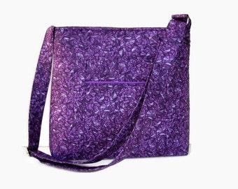 Purple Fabric Crossbody Bag Purse - Outside Pocket - Purple Messenger Bag - Medium Shoulder Bag - Adjustable Strap
