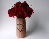 Faux Bois Vase with carved heart / Tree inspired Home Decor / Nature Art /  handcrafted vase