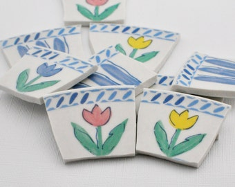 Broken China Mosaic Tiles - Tulips and Stripes Flowers Focal - Set of 12