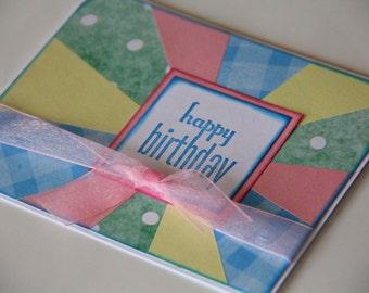 Happy Birthday Card, Sunburst Birthday Card in Green, Blue, Pink and Yellow, Stamped Birthday Greeting (BD1507)