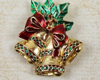 Vintage Triple Christmas Bell Red, Green and Gold Holiday Brooch