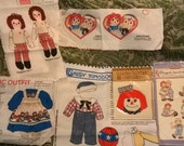Raggedy Ann& Andy Collection of Vintage fabric and Applique Patches with Iron On Transfers