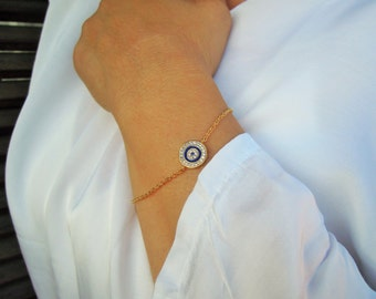Evil eye bracelet, tiny, delicate, turkish, greek, good luck, for her, gold, christmas