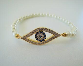 wedding - Wife - Bracelet  - Gifts for Her - Evil Eye Jewelry - White Jewelry - Evil Eye Bracelet - Best Friend Jewelry - friendship jewelry