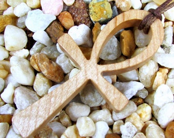 Ankh Cross Pendant / Hard Maple Wood / Eternal Life Symbol