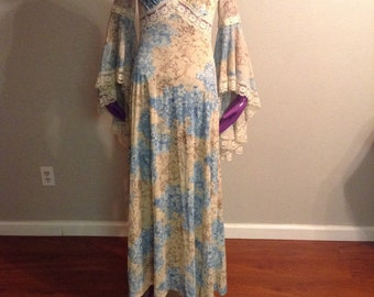 Vintage 1970s hippy dress with bell sleeves
