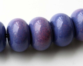 Purple Enamel Glass Lampwork Beads, Handmade Accent Bead Set